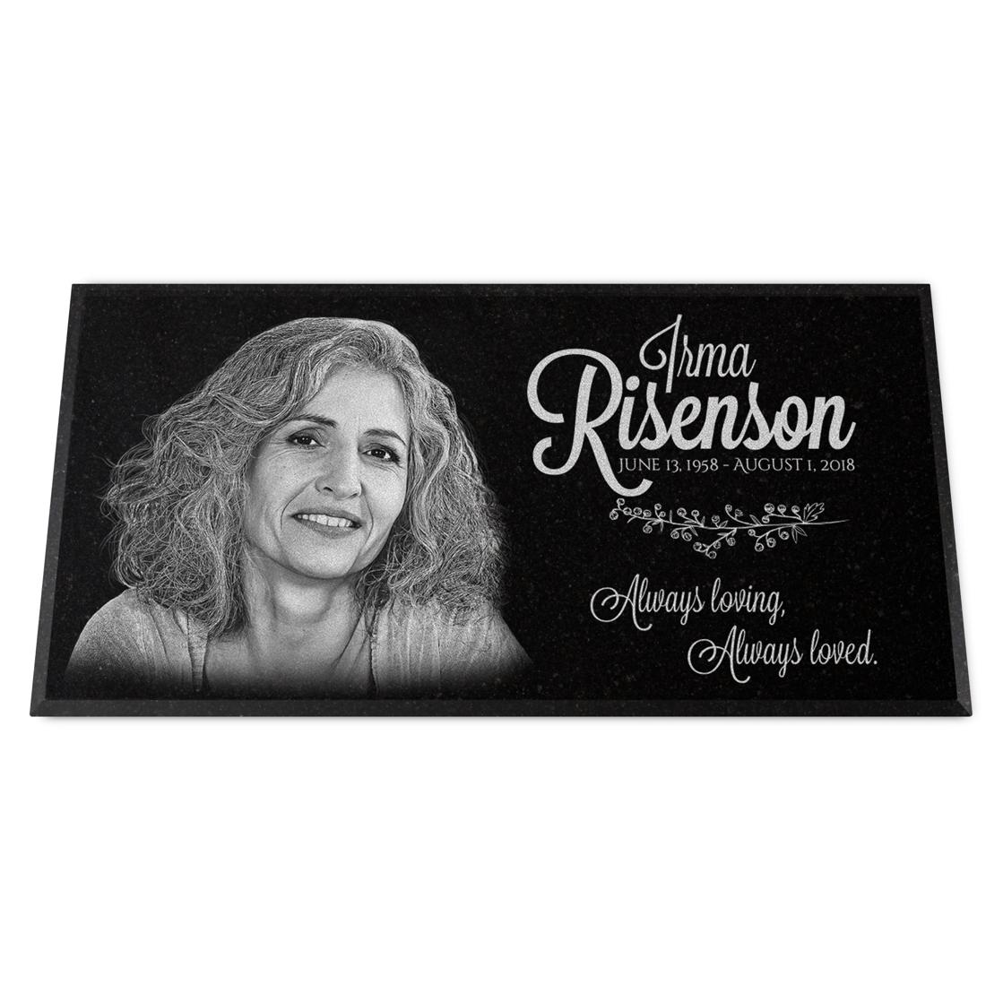 "Photo of 12x6x¾"" Headstone / Grave Marker, Personalized"