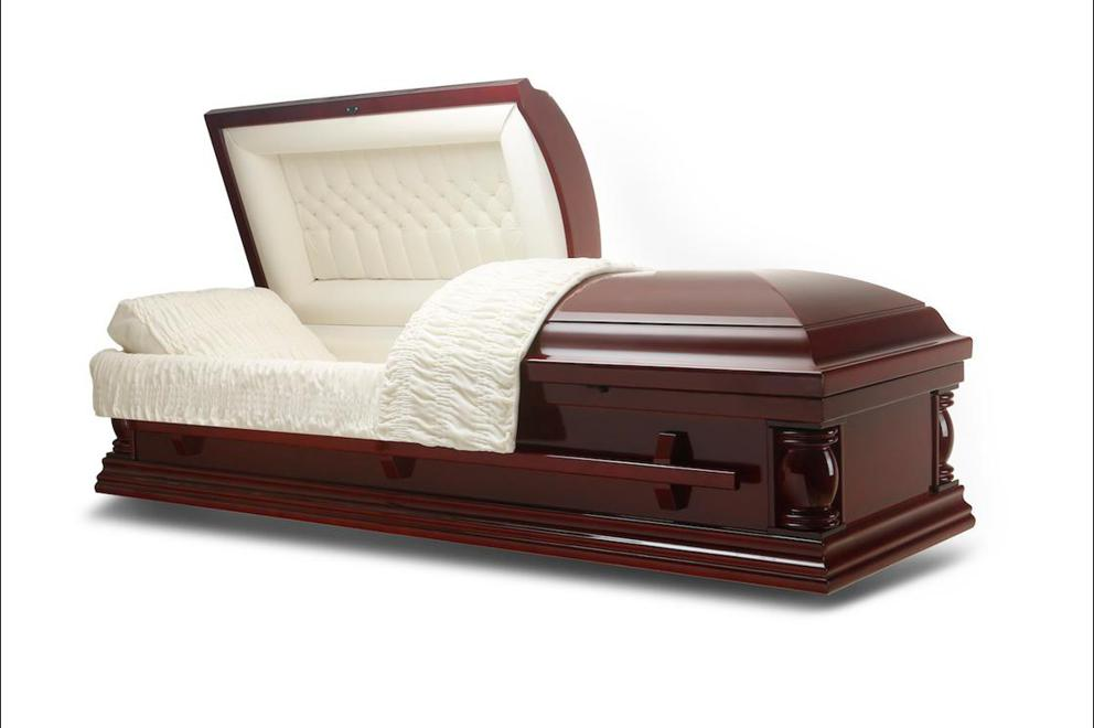 Photo of Elite Lite - Cherry Wood Casket with Ivory Velvet Interior