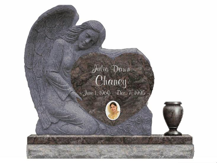 Photo of Sculpted Angel Heart Single Upright Monument