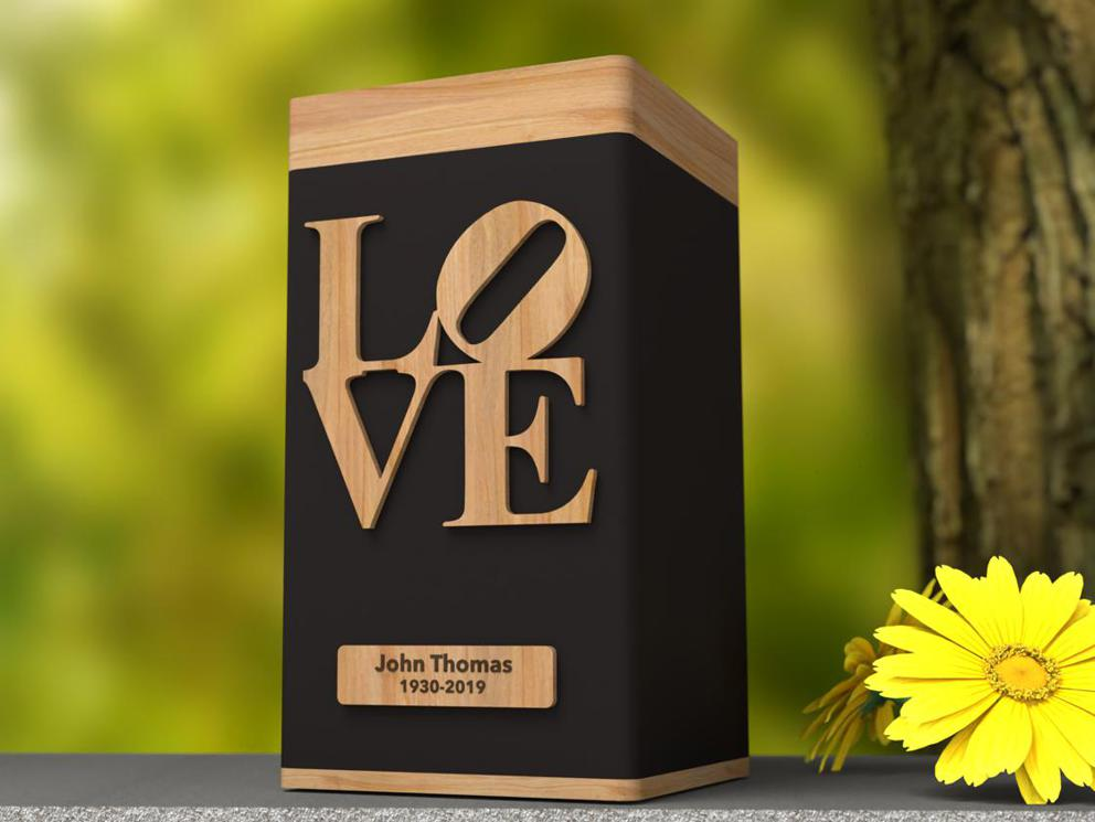 "Photo of Biography ""LOVE"" Modern Urn"