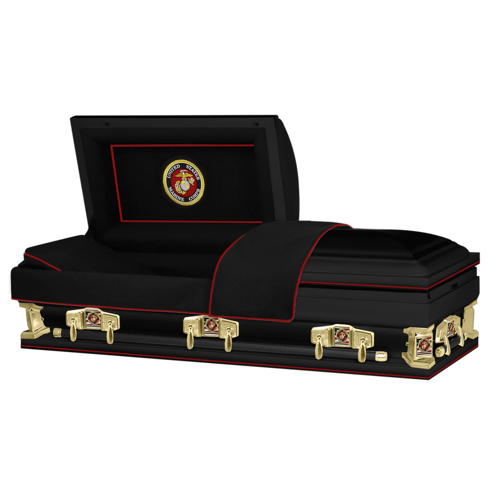 "Photo of Titan Veteran Select XL | MARINES | Black Steel Casket with Black Interior | 28"", 29"", 33"", 36"""