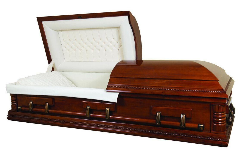 Photo of Lincoln Solid Poplar Casket with Almond Velvet Interior - Wood Casket