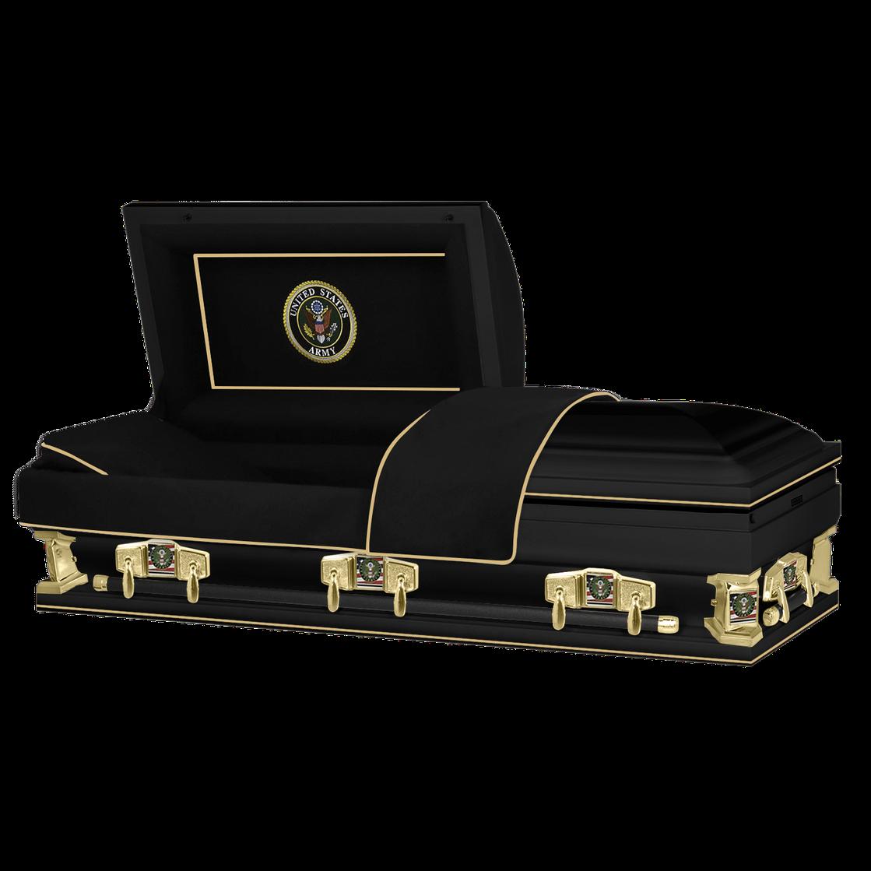 "Photo of Titan Veteran Select XL   ARMY   Black Steel Casket with Black Interior   28"", 29"", 33"", 36"""