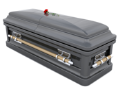 image of black casket