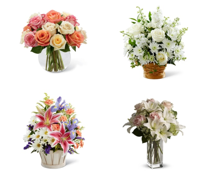 Several bouquets of flowers in vases