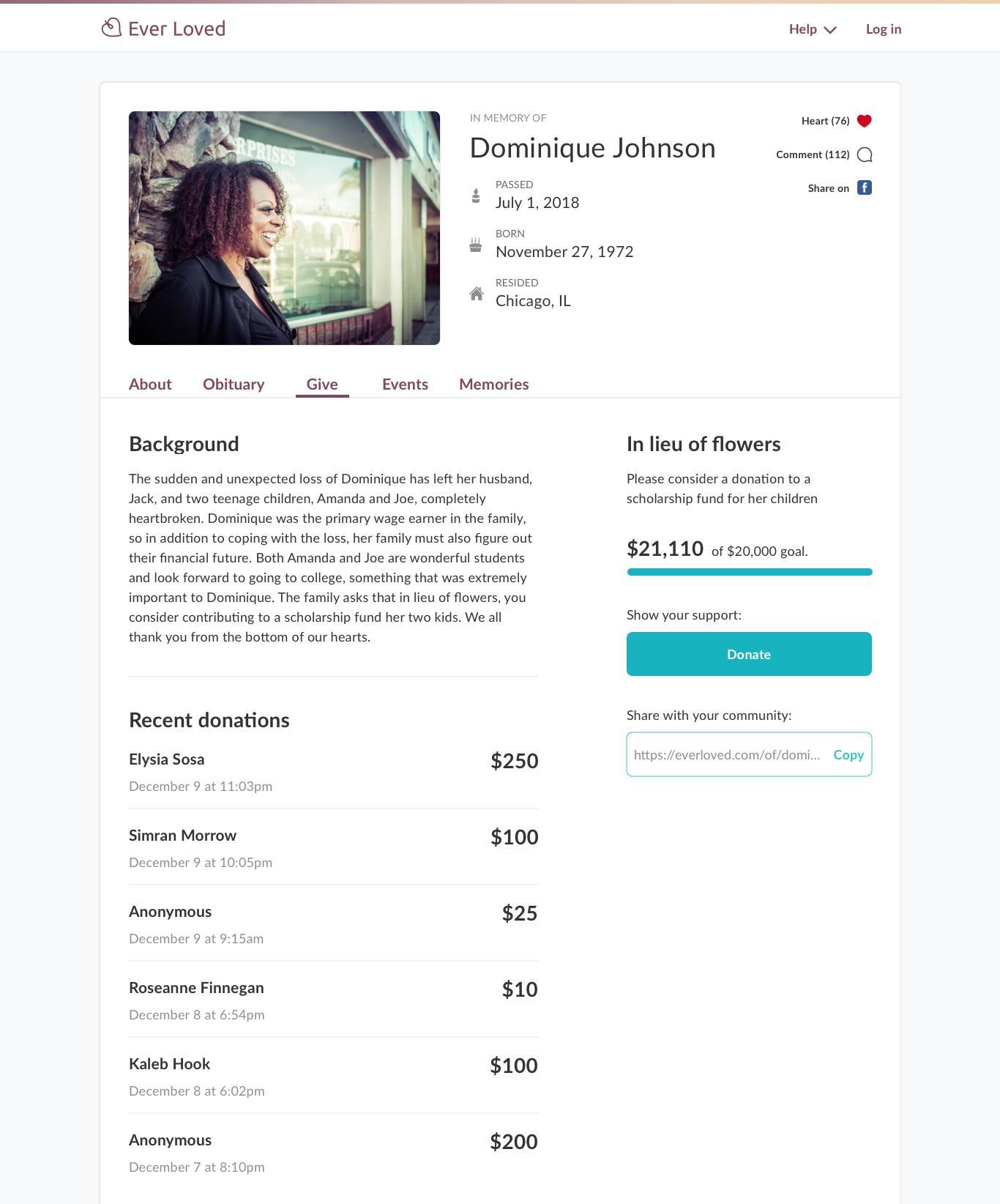 Funeral fundraising wording sample