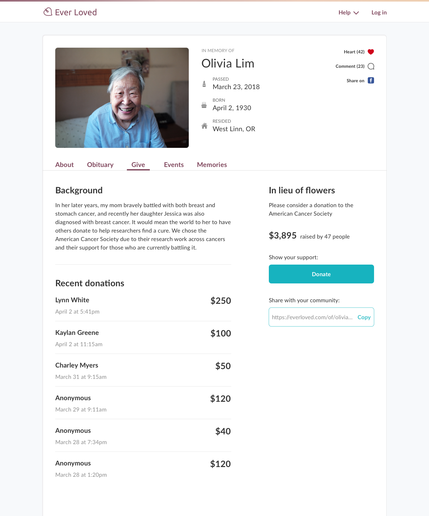 Example of a memorial fundraising campaign