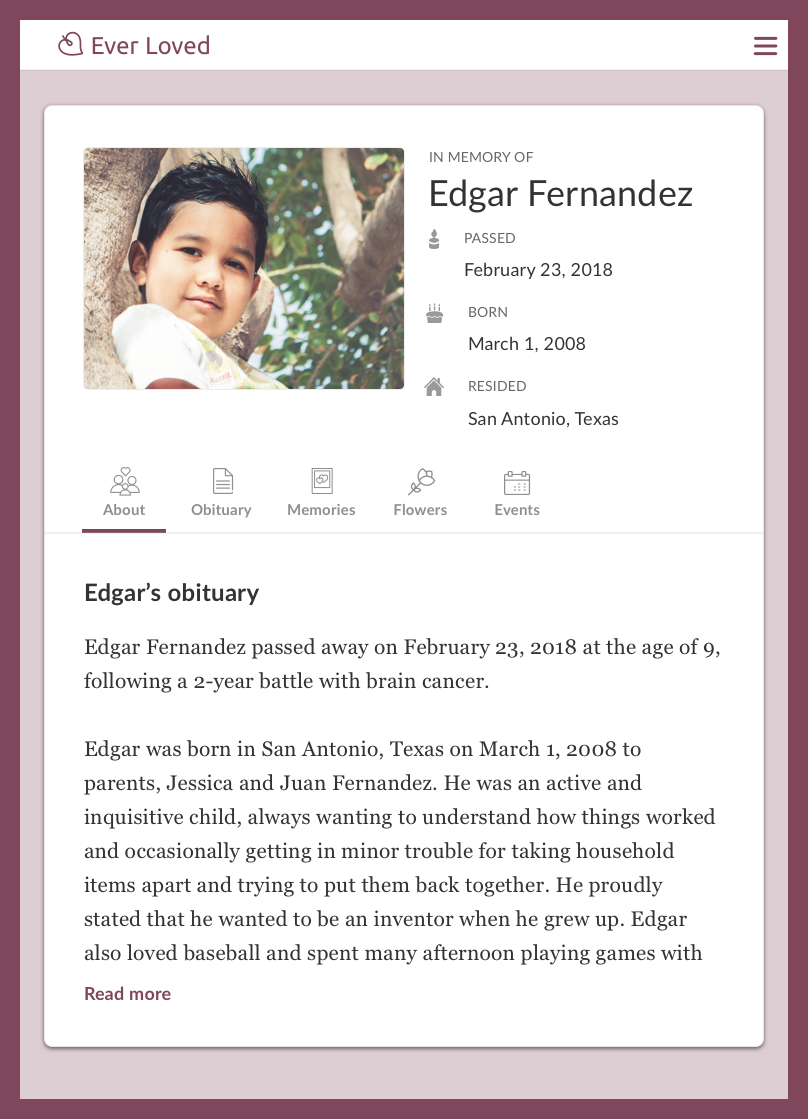 Child obituary example