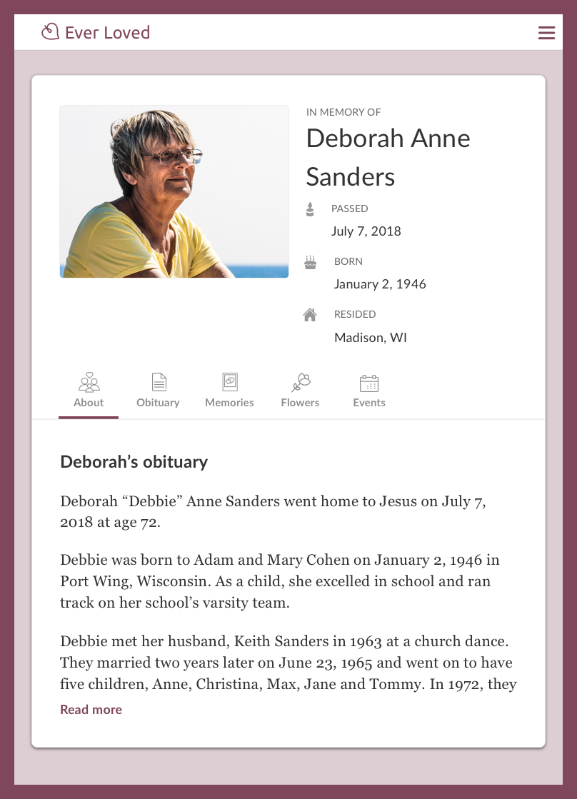 Christian obituary example