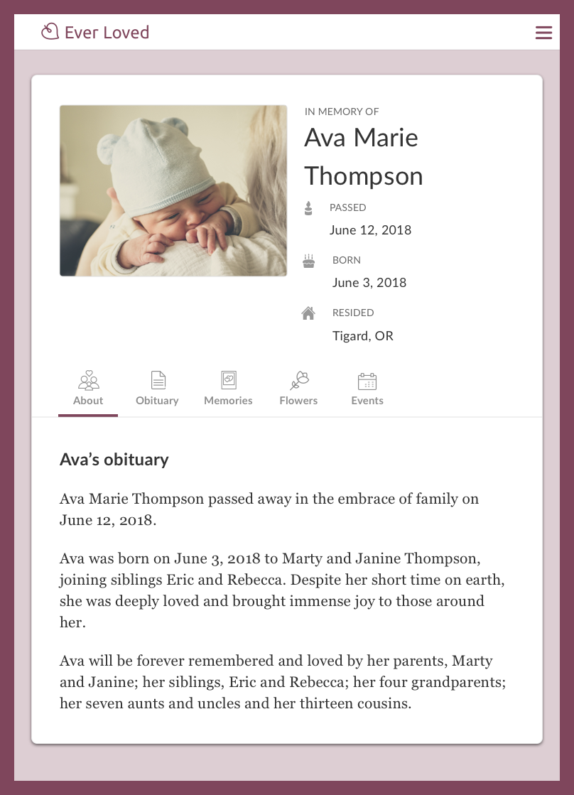 Infant obituary example