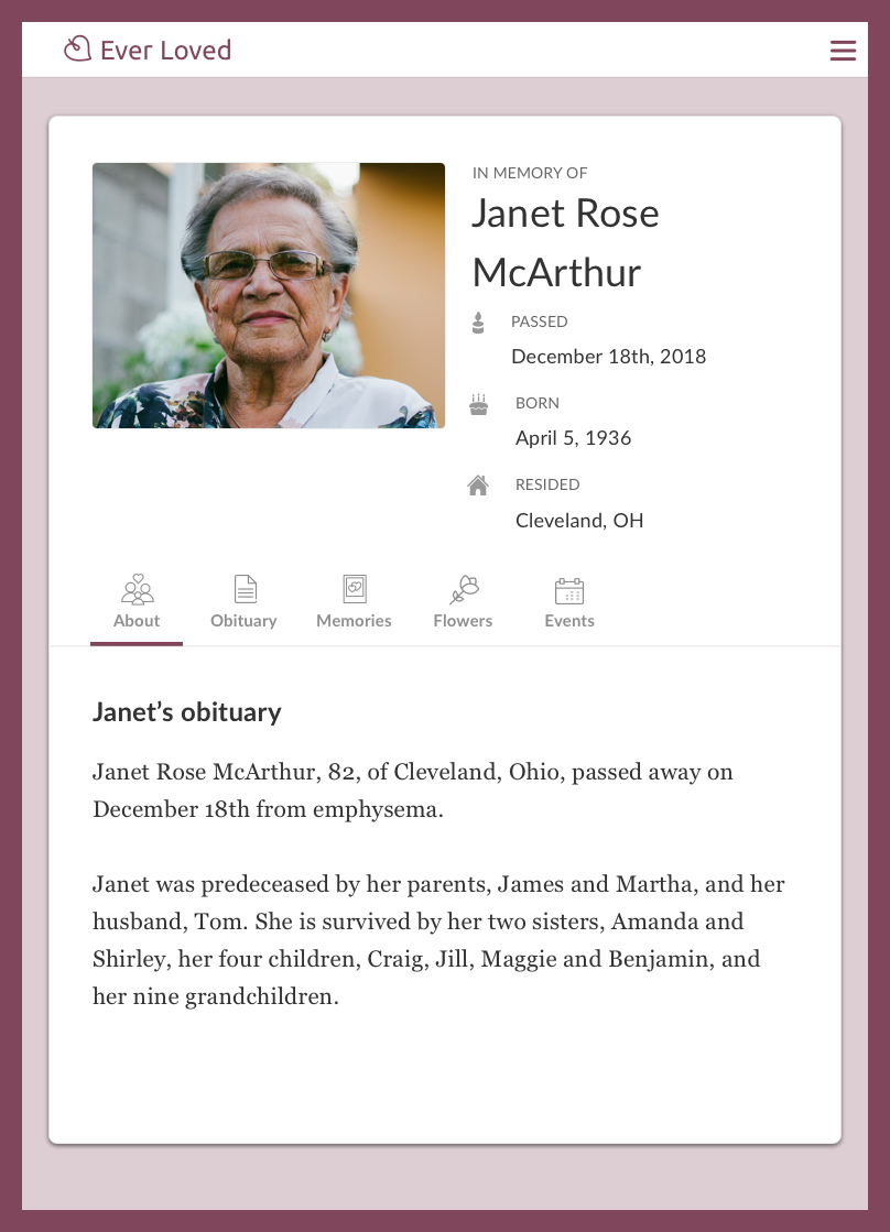 Short obituary example