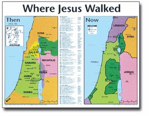Quot Where Jesus Walked Then And Now Quot Laminated Map Church