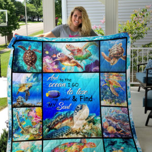 Turtle - And To The Ocean I Go To Lose My Mind & Find My Soul Quilt Blanket