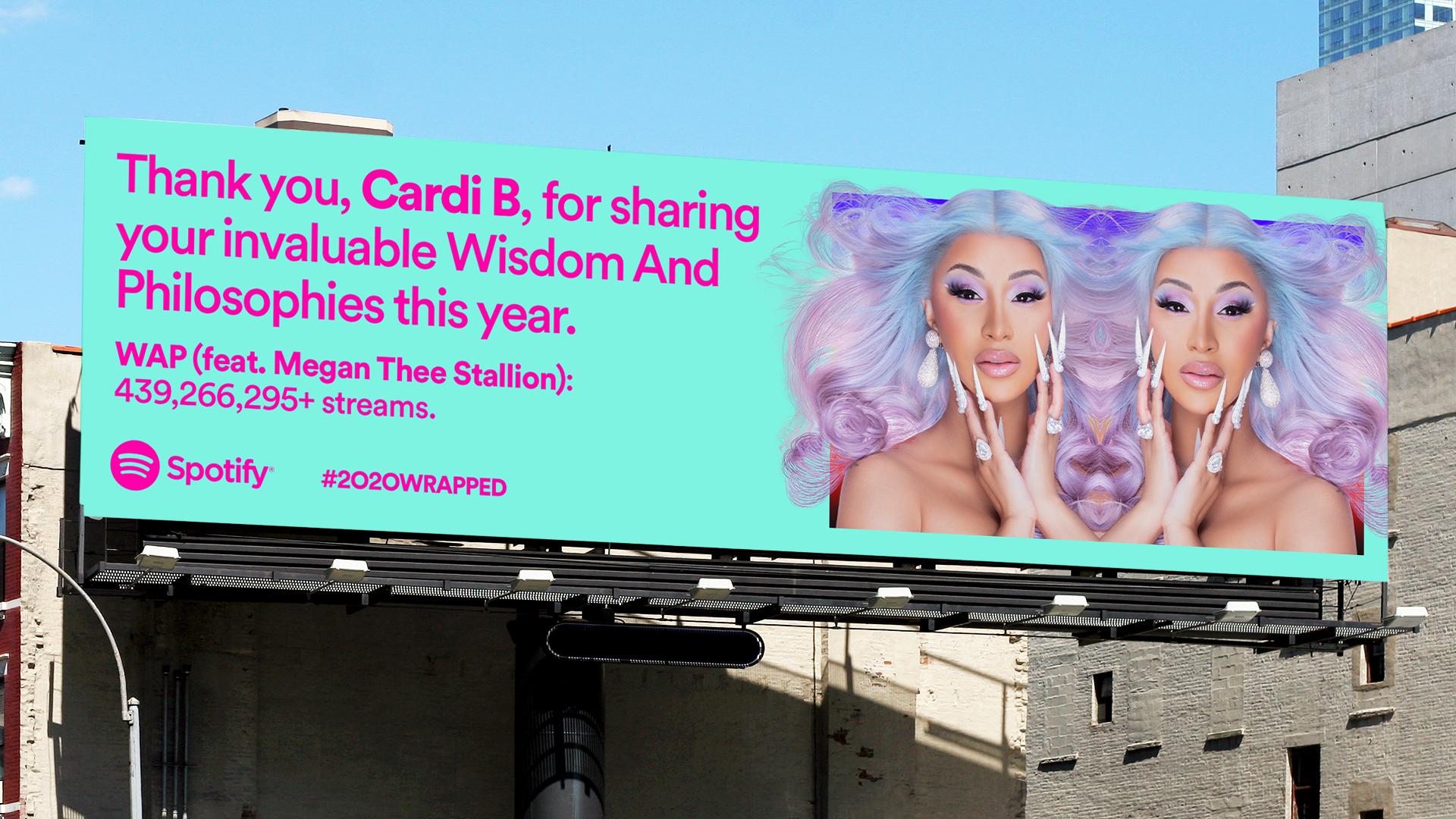 Copia de Billboard: Gracias Cardi B por compartir su invaluable sabiduría y filosofía este año.  WAP hazaña.  Megan Thee Stallion, 439 266 295+ transmisiones.