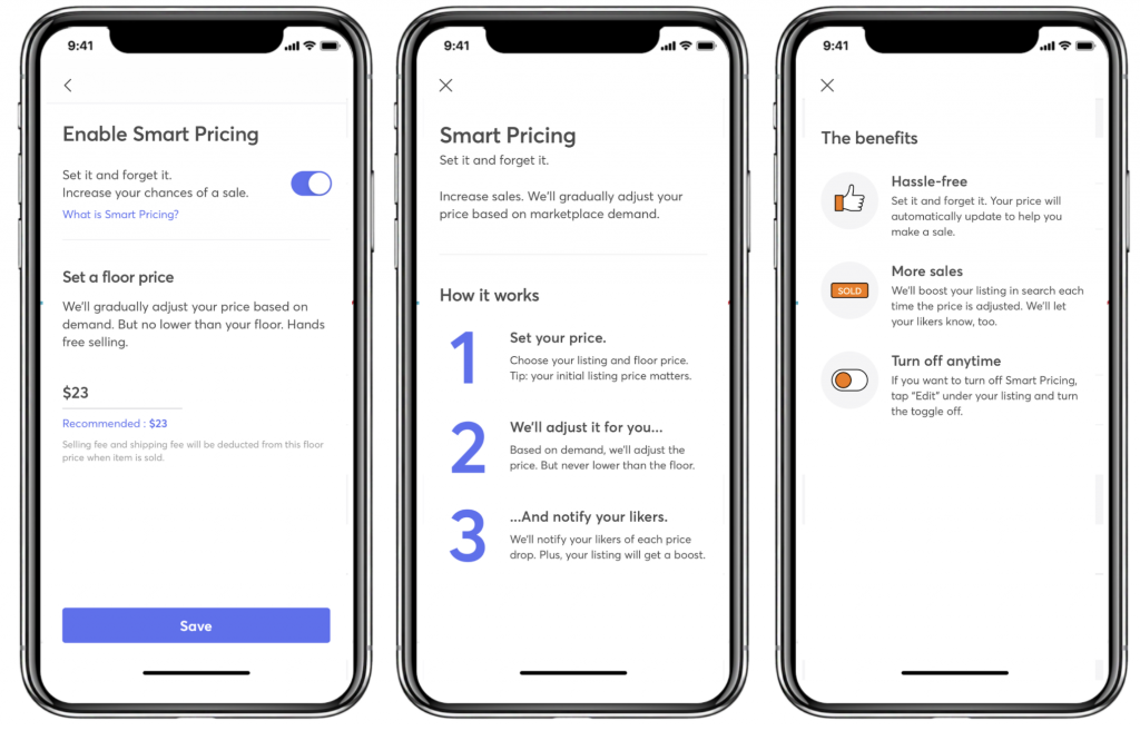Smart Pricing feature in Mercari US application
