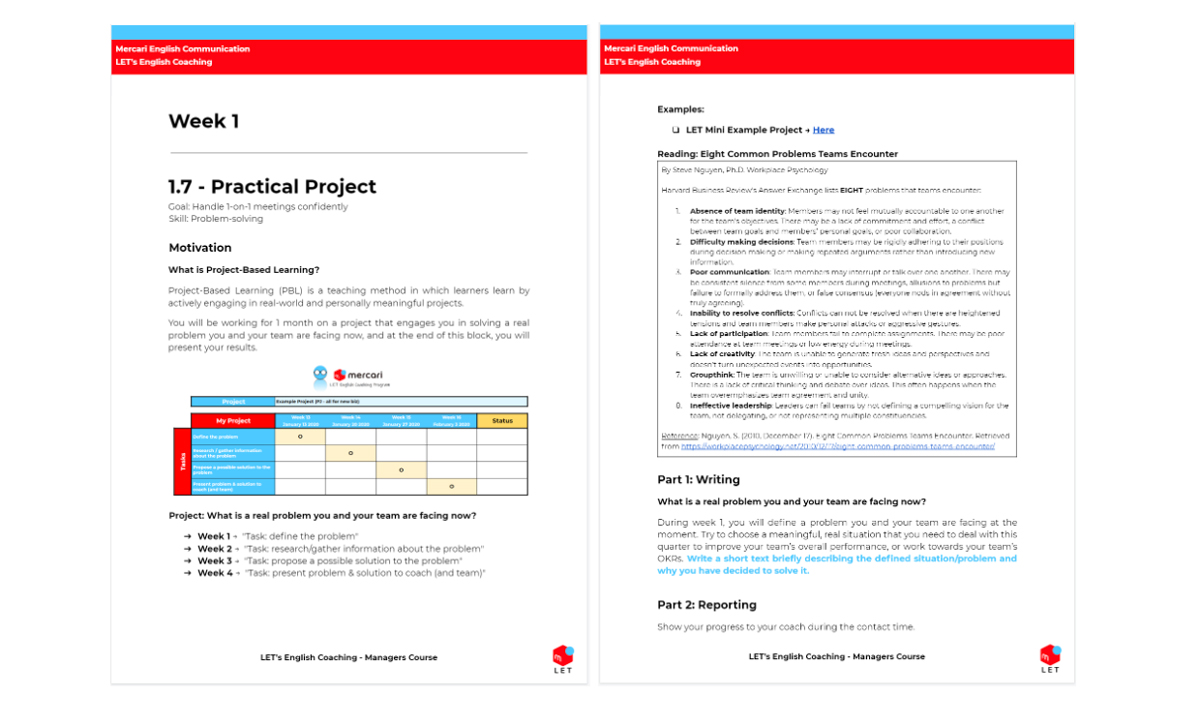 An example of teaching materials.This practical project focuses on having the manager solve an actual problem within the organization.