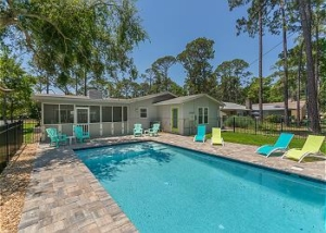 Private pool in the backyard of Jekyll vacation rental