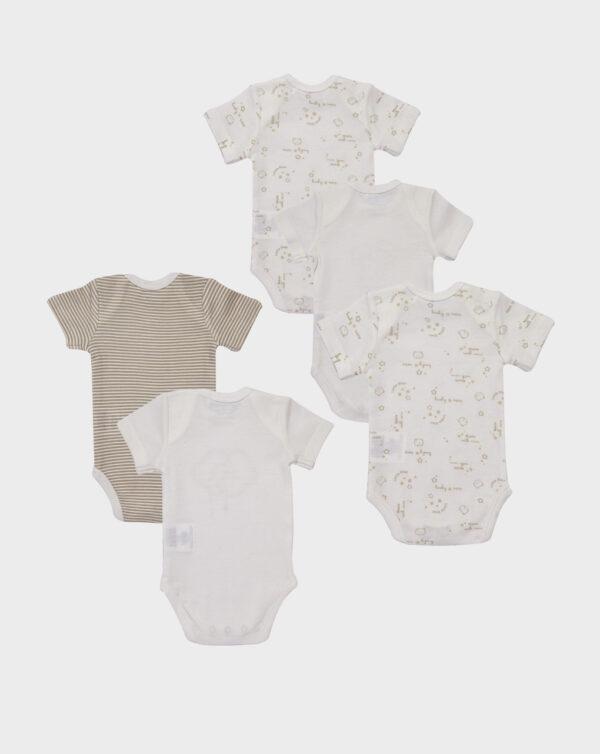 Paquete de 5 bodies de manga corta de algodón orgánico - Prénatal