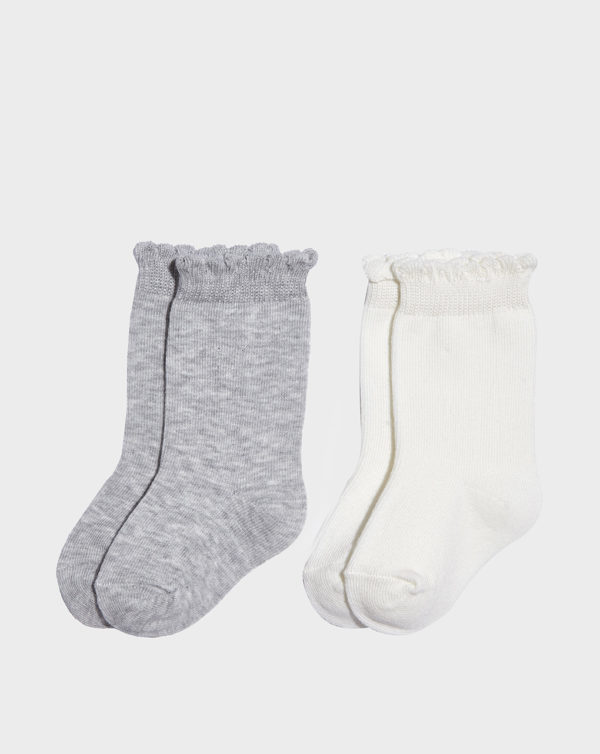Paquete de 2 pares de medias de niña de color gris y crudo - Prénatal