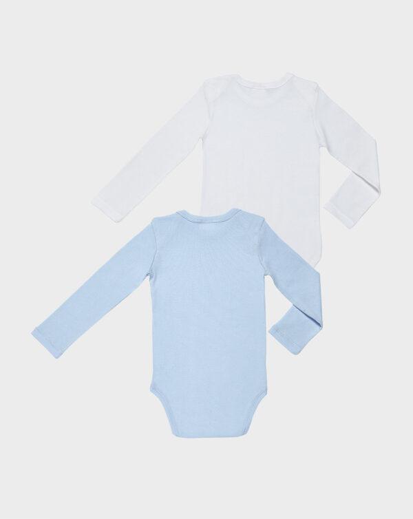 Paquete de dos bodies azul y blanco con cuello de pico - Prenatal 2