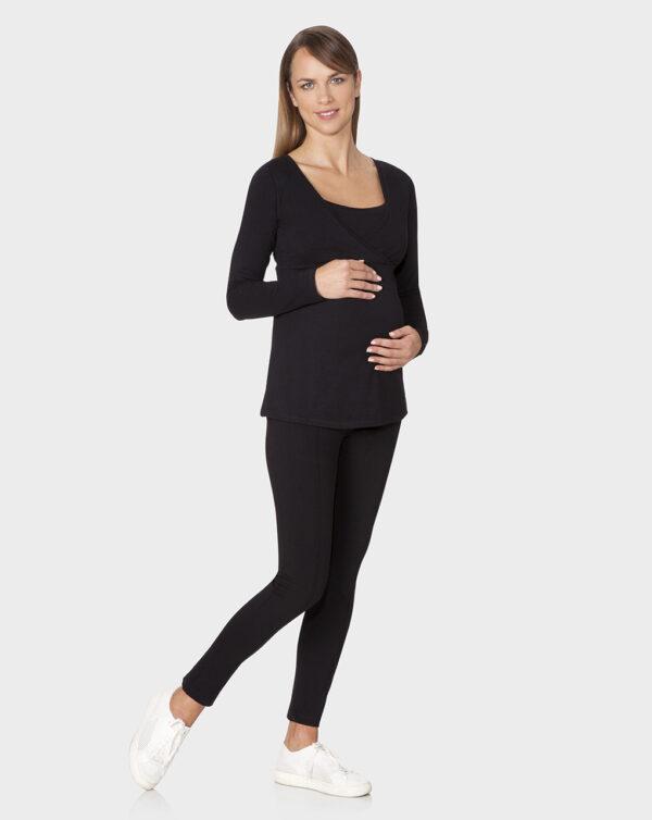 Camiseta de manga larga negra de tela para la lactancia - Prénatal