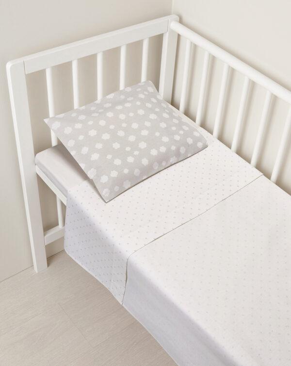 Juego sábanas 2 piezas minicuna/capazo blanco y gris con puntos y nubes - Prénatal