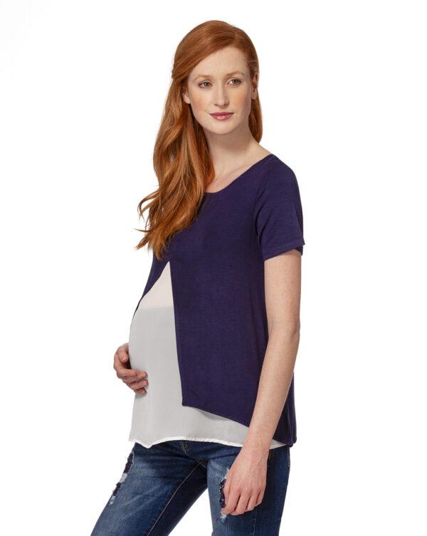 CAMISETA LACTANTIA AZUL Y BLANCA CRUZADA - Prenatal 2