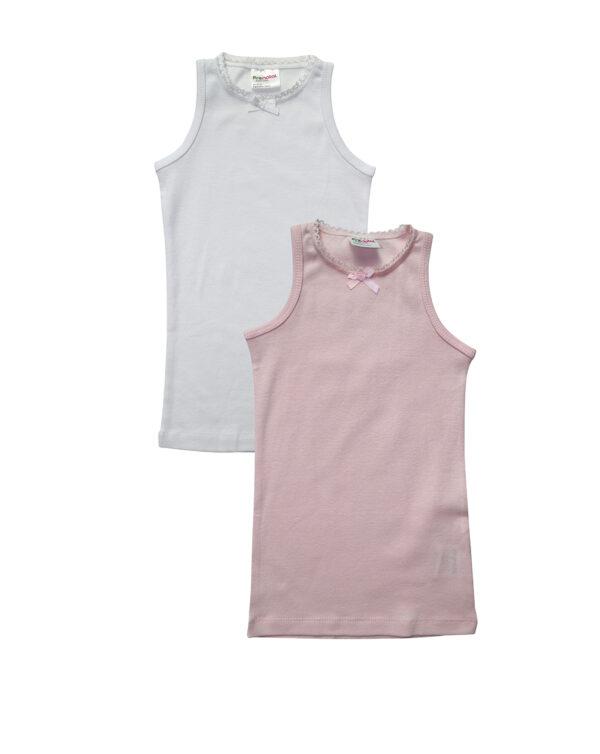 Pack de 2 camisetas sin mangas blanca y rosa - Prénatal