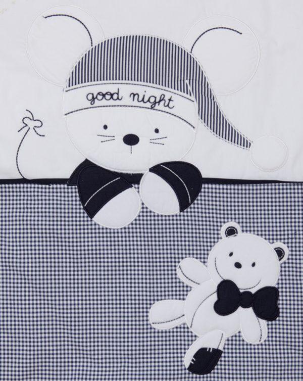 Conjunto de cama azul vichy con ratón - Prénatal