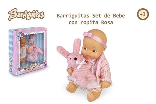 BARRIGUITAS. SET DE BEBÉ CON ROPITA ROSA - BARRIGUITAS