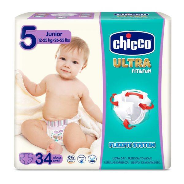 PANALES CHICCO ULTRA JUNIOR T5 (15-25KG) 34 UNIDADES - Chicco