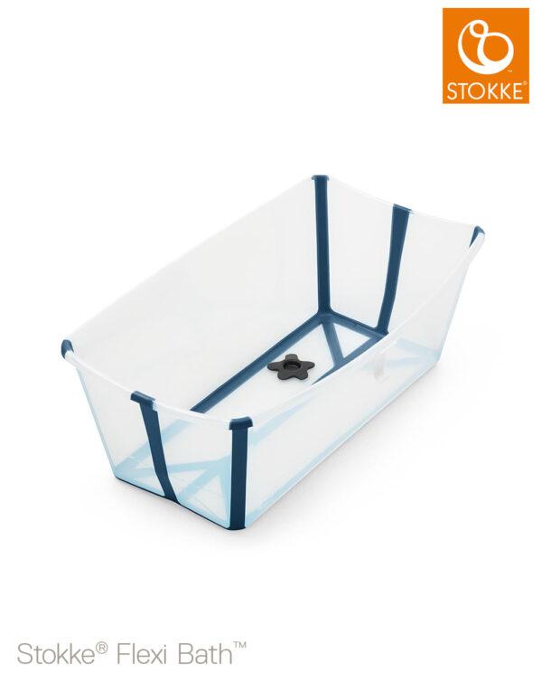 BAÑERA FLEXI BATH TRASPARENT BLUE TAPÓN TERMOSENSIBLE - Stokke