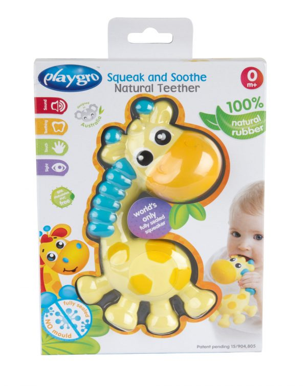 SQUEAK AND SOOTHE NATURAL TEETHER - Playgro