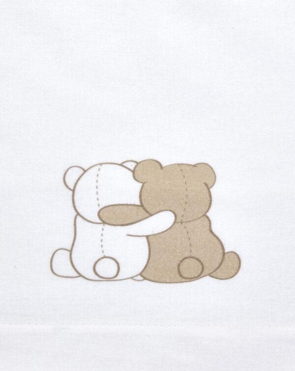 Juego 3 piezas sábanas de franela blanca con oso - Prénatal