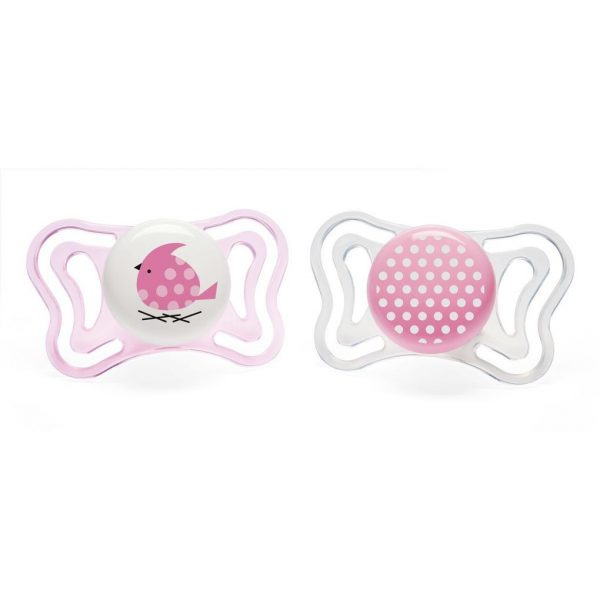 PACK 2 CHUPETES PHYSIO LIGHT 2-6M SILICONA ROSAS - Chicco
