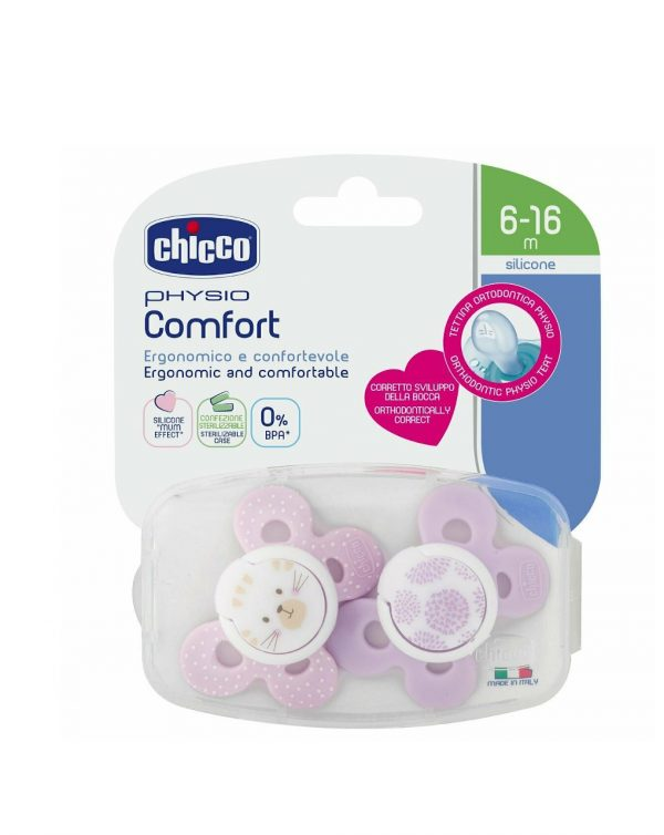 PACK 2 CHUPETES PHYSIO COMFORT SILICONA 6-16M ROSAS - Chicco