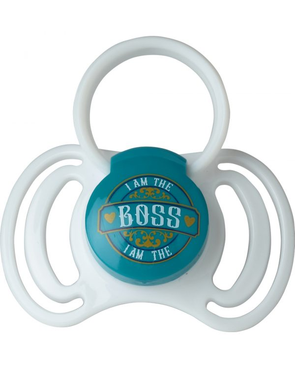 "PACK 2 CHUPETES  SILICONA 6-12M CON ANILLA ""I'M THE BOSS"" - That's Love"