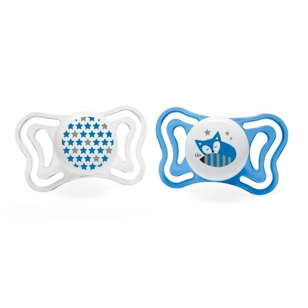PACK 2 CHUPETES PHYSIO LIGHT 6-16M SILICONA AZULES - Chicco