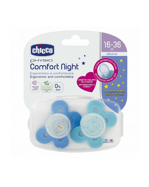 PACK 2 CHUPETES COMFORT NIGHT SILICONA AZULES 16-36M - Chicco