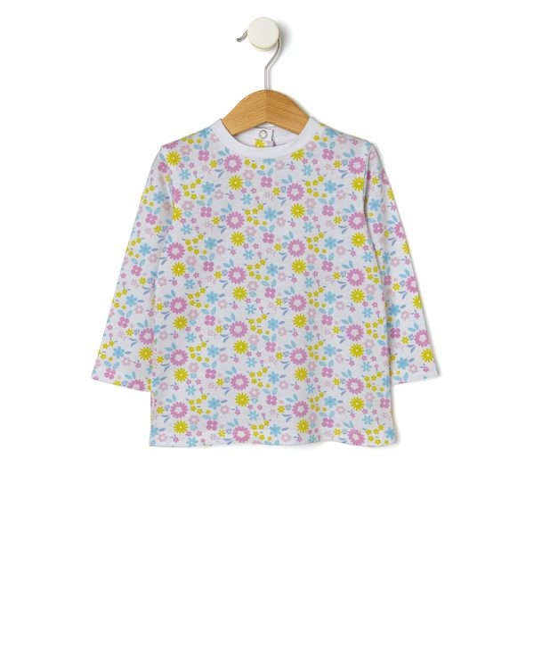 Camiseta básica con estampado de flores all over