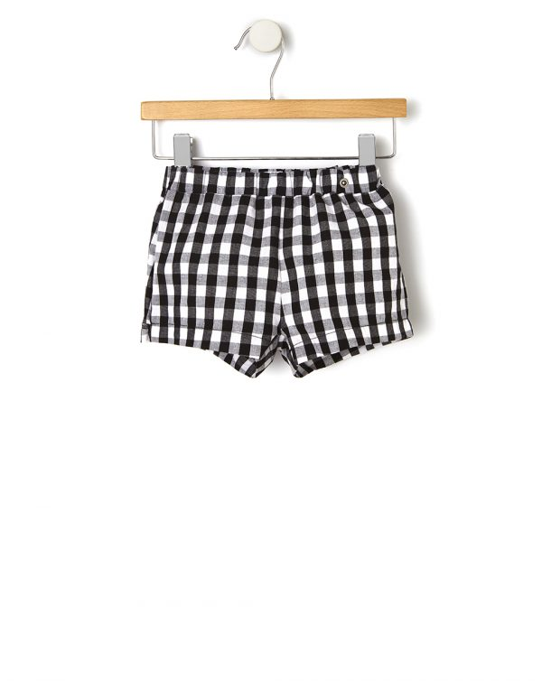 Pantalones cortos de popelina con estampado vichy - Prénatal