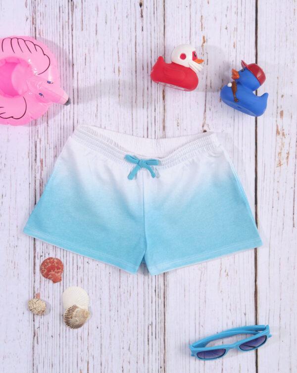 «Shorts» de tejido de punto con efecto degradado blanco/azul - Prénatal