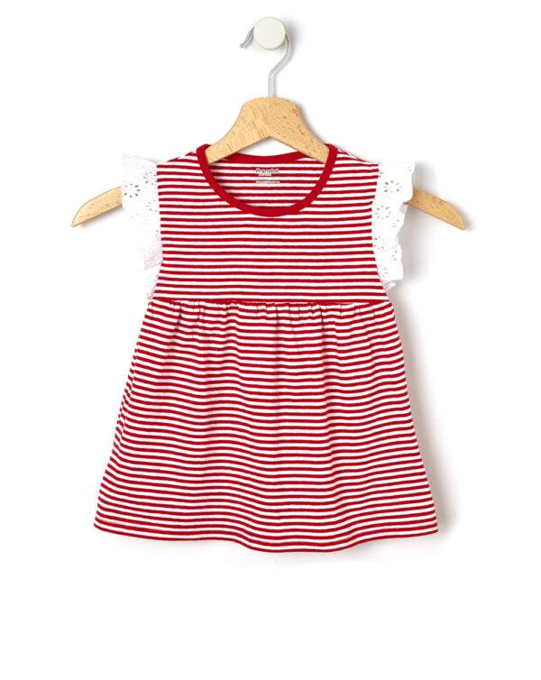 Camiseta de rayas con aplicaciones de sangallo - Prénatal