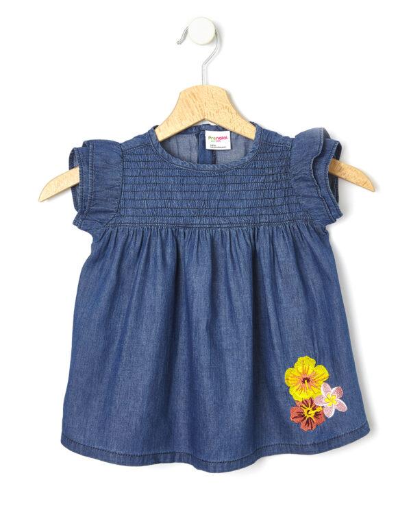 Camisa de chambray con bordado de flores - Prénatal