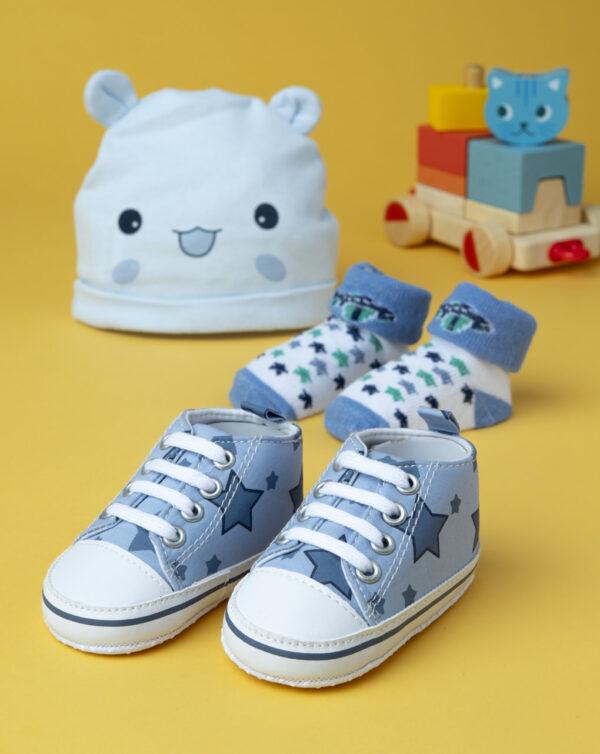 Set de niño: gorro, calcetines y zapatos azules - Prénatal