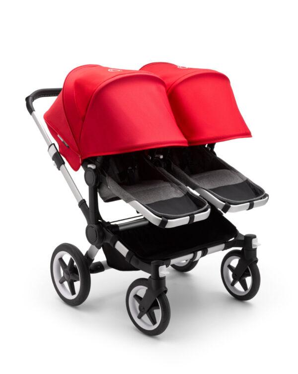 Cochecito silla 2 en 1 Bugaboo Donkey 3 para gemelos Aluminio/Gris jaspeado/Rojo - Bugaboo