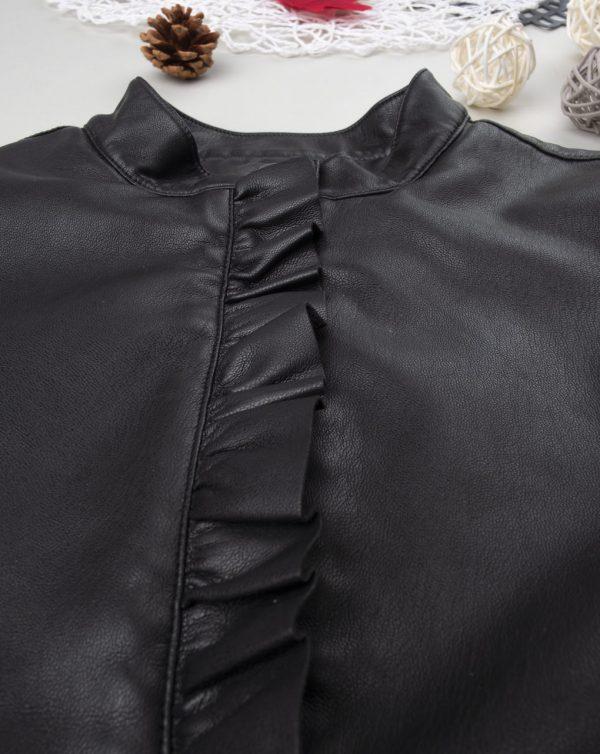 Chaqueta niña de piel sintética negra - Prénatal