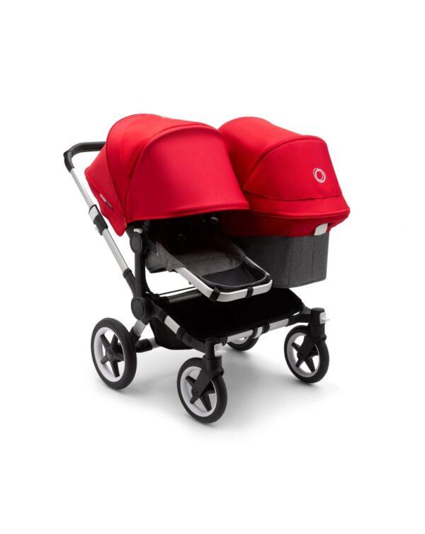 Cochecito silla 2 en 1 Bugaboo Donkey 3 para hermanos Aluminio/Gris jaspeado/Rojo - Bugaboo