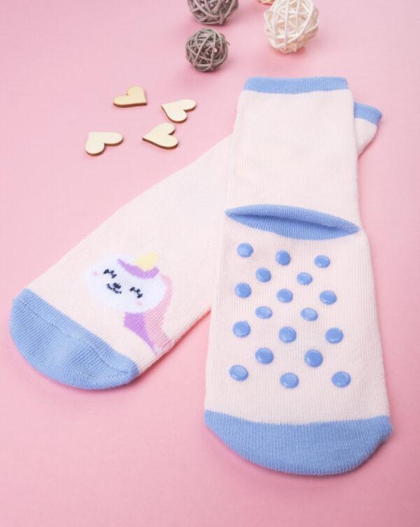 Calcetines antideslizantes niña blanco con animalitos - Prénatal