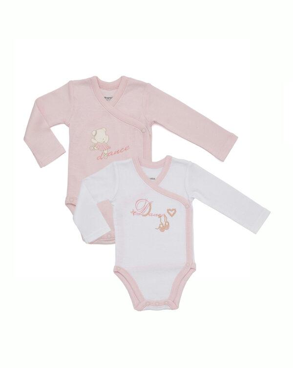 Pack 2 bodys en rosa y blanco con apertura lateral - Prénatal